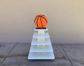 Cupcake stand, basketball themed , 5 tier square cupcake stand