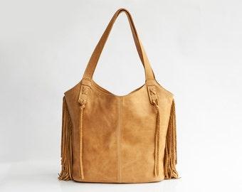SALE / Camel leather Bag - Shoulder Bag - Fringe leather bag - Hobo Bag - Soft Leather Bag - Large Tote - School Bag - Fringe Bag