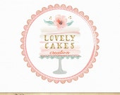 Premade Cake stand logo with watercolor flower, lace doilies and Gold foil text