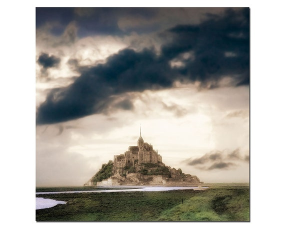 Mont Saint Michel ,French Landscape Photography, Normandy France, Pinhole Photography, Large Wall Art, Green, Tan.
