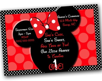 Red Minnie Mouse  Invitation OR Thank you card