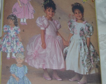 Butterick 6428 Childrens  Dress With and Without Drape Sewing Pattern - UNCUT - Size 2 3 4 or Size 5 6 6x