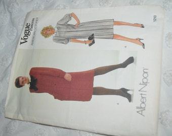 Vogue 1210 Albert Nippon  Misses Dress and Belt  Sewing Pattern - Size 12  UNCUT