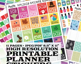 Printable Planner Stickers, planner printable, planner flag, EC Planner, printable planner, event flags, checklist boxes, Holiday Stickers