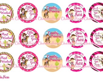 cowgirl bci bottle cap image , 1 inch image,