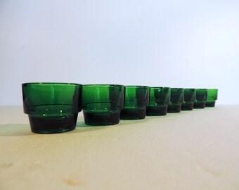 Vintage French Huilor emerald green glass egg cups, shot glasses, liqueur, glasses, or tea light candle holders.