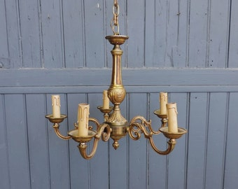 Vintage French bronze five lamp Chandelier, electric ceiling or pendant light