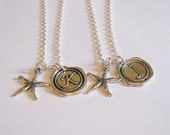 2 Starfish Wax Seal Initial Necklaces BFF SISTERS COUPLES