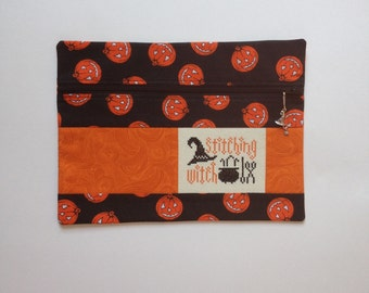 Front zipper pouch / Halloween project bag with cross stitch