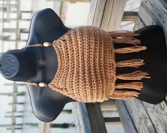 Camel Beaded Hippie Crochet  Festival Top