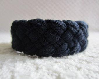 Navy Blue Braided Bracelet, nautical bracelet, woven bracelet, weaved bracelet, cloth bracelet, fabric jewelry, beach accessory, soft