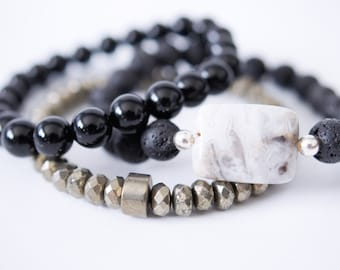 White Gray Agate . Volcanic Black Lava . Pyrite Natural Stone Bracelet Set