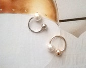 Tiny 4mm Pearl Gold or Silver Cuff earring / Free Shipping In US