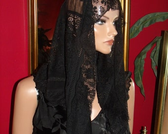 Black Aristocratic Mantilla Veil French style Church Wrap
