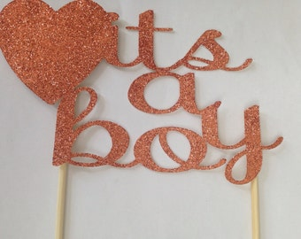 It's a boy Glitter caketopper birthday wedding babyshower partydecor
