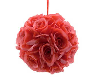 "9"" Coral Guava Orange Pink Silk Rose Flower Pomander Kissing Balls Wedding Pew Decoration Baby Shower Party Decor"