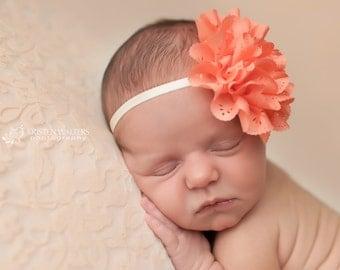 FREE SHIPPING! Coral Newborn Headband, Coral Flower Headband, Coral Baby Headbands, Coral Headbands, Newborn Headbands, Baby Headbands