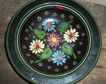Vintage Ecuador Handpainted Pottery Plate Bowl Wall Hanging