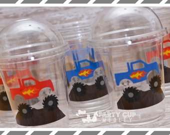 Monster Truck Birthday Party Cups-Favor Cups-Souvenir Cups