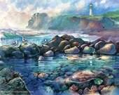 Tide Pools at Yaquina Head Light -Watercolor Painting by Michael David Sorensen. Newport Lighthouse. Oregon Coast Art. Seascape. Ocean. Blue