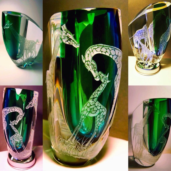 Seduction of Light. Vase, Kosta Boda, Handengraved, Crystal, African Art, Giraffe, weddings, Bespoke