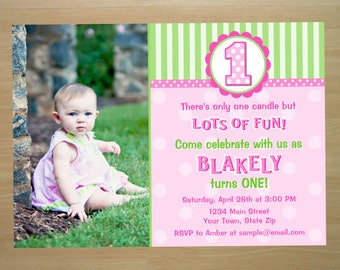 Girl 1st Birthday Invitation - Digital File (Printing Available)