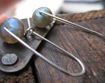Little Worlds   LABRADORITE drop earrings   BLUE FLASH   Brown Labradorite   handmade Sterling Silver ear wires   sleek silver modern boho