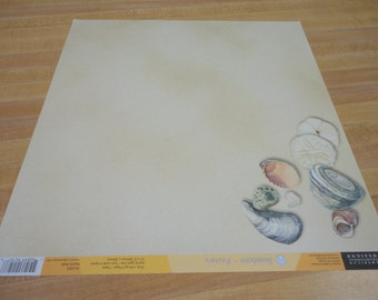 American Traditional 12x12 Scrapbook Paper Sand and Shells