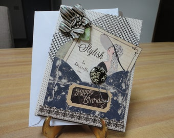 Graphic 45 Couture HandMade Ladies Birthday Card