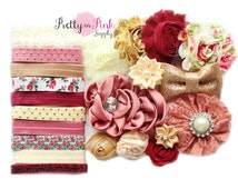 Antique Rose Baby Shower Headband Kit #82- Baby Shower- Baby Shower Headband Station- Baby girl- Headband Supplies- Diy Headband Supplies