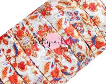 "Moroccan Floral Print Elastic- Fold Over Elastic- FOE- You Choose Yards- Print Elastic- Elastic by the Yard- 5/8"" Fold Over Elastic"