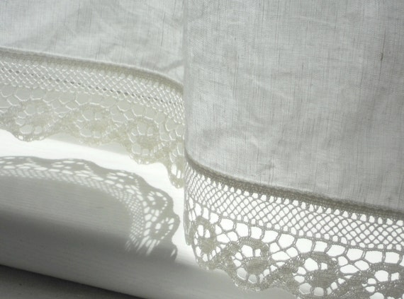 Bathroom window curtains with wave lace edge trim  natural white linen cafe curtain panel in. Bathroom window curtains with wave lace edge trim natural