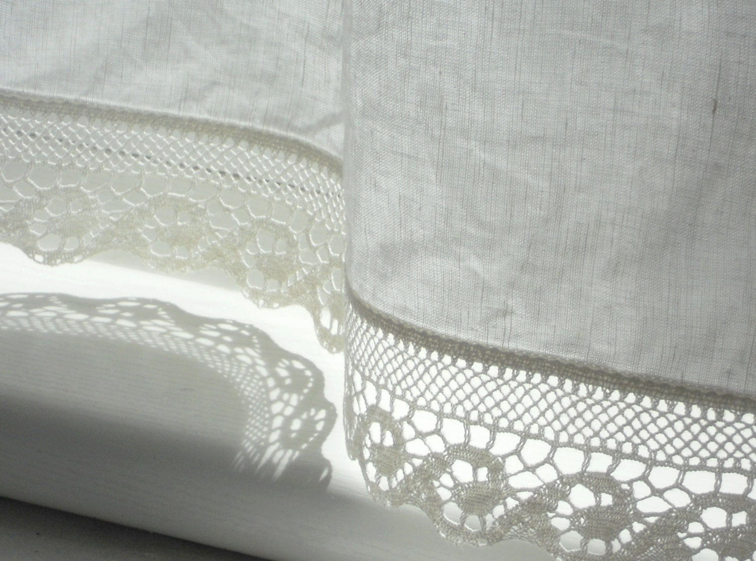 Lace bathroom window curtains - Bathroom Window Curtains With Wave Lace Edge Trim Natural White Linen Cafe Curtain Panel In French Cottage Style White Valance