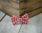 Red Gingham Fabric Bow Headband - Fabric Headband - Handmade Hair Accessories