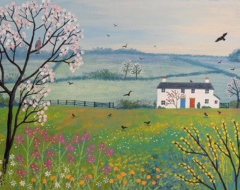 18 x 14 inch limited editon giclee art print of 'Cottages by Spring Meadow'