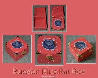 Russian Blue Rat Wooden Box