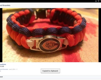 Chicago Bears Paracord Bracelet