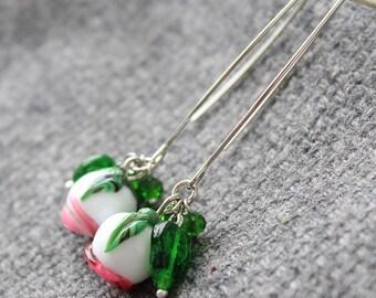 Glass Lampwork Earrings, Lampwork Flower Earrings, Hook Lampwork Earrings, Dangle Earrings, Lampwork glass Earrings, Lampwork beads earrings