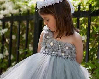 Grey flower girl dress...Grey Tutu Dress...Silver Tutu Dress…Silver flower girl dress.. Flower girl dress...Gray tutu dress