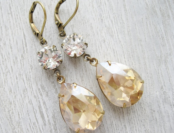 Champagne Earrings. Vintage Style. Old Hollywood Glam. Estate Style. Bridal. Wedding Jewellery. Light Topaz. Antiqued Brass