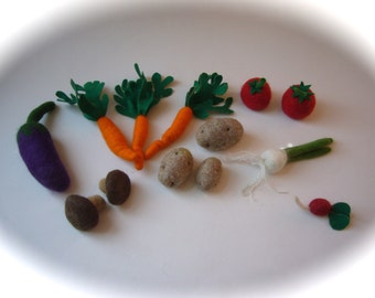 Vegetables wet felted.Play food,Veggie.13 pieces.