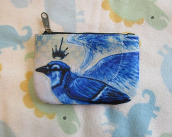Zipper Coin Purse, Crowned Blue Jay ID Case, Credit Card Holder, Stocking Stuffers, Wallet, Gift for Bird Lovers