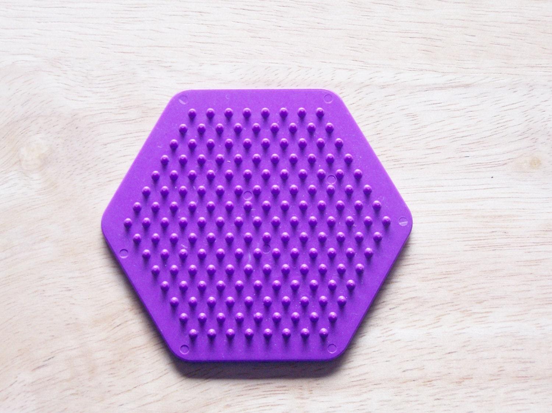 perler bead purple hexagon pegboard ironing paper