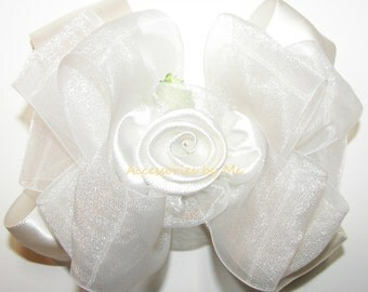 Light Ivory Hair Bow, Off White Hairbow, Organza Satin Ribbon Flower Clip, Baby Girls Toddler Hairbows, Wedding Party Pageants Bows Barrette