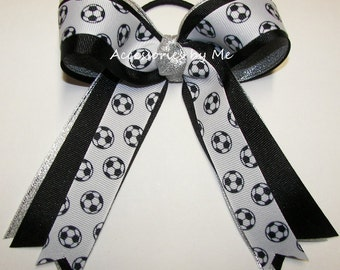 Bulk Price Soccer Bow, Soccer Balls Hair Bow, Soccer Black Silver Sprakly Ribbon Ponytail Holder, US Team Spirit Travel Practice Camps FIFA