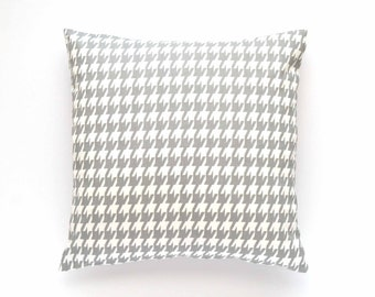 "Decorative Houndstooth Pillow Cover - Gray and White - 20"" x 20"" - Throw Pillow, Pillow Cover, Gray and White Pillow, Gray Throw Pillow"