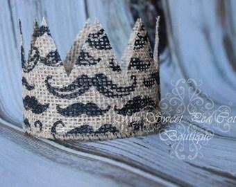 Natural Burlap Mustache Crown: Newborn Photo Prop, Newborn Crown, Burlap Crown, Baby Crown, Mustash Crown, Infant Crown, Photography Prop