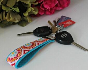 Pink Medallion Design Wrist Key Fob