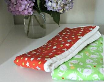 Green Crab and Star Burp Cloth Set