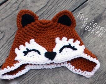 Custom Crochet Fox Earflap Hat